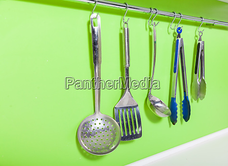 cooking utensils on the hanger