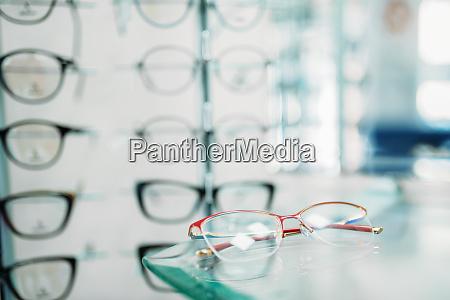glasses showcase in optic shop closeup