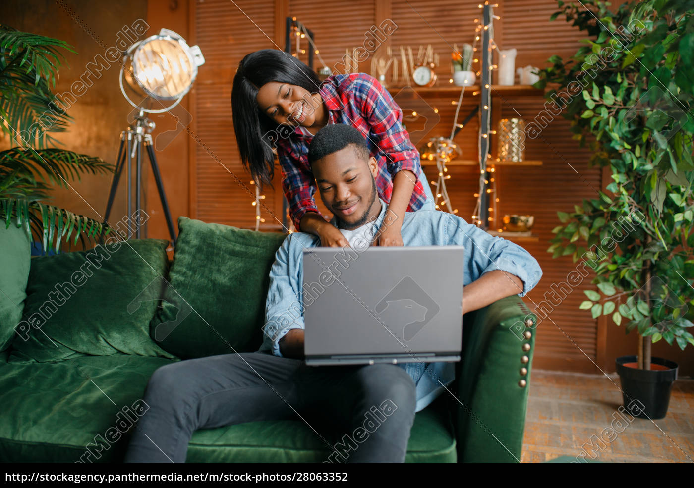 black, couple, with, laptop, having, fun - 28063352