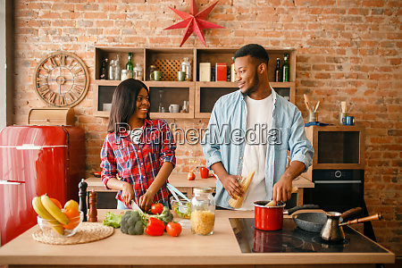 black, man, cooking, on, kitchen, , wife - 28063082
