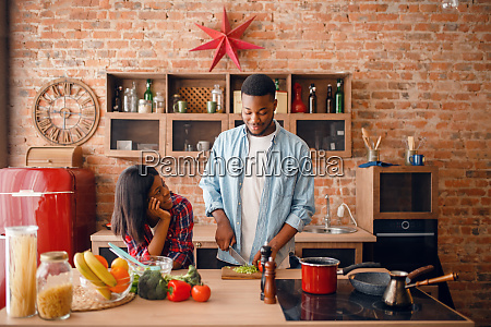 black, man, cooking, on, kitchen, , wife - 28063088