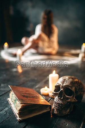 human, skull, and, spellbook, , , occultism - 28063238