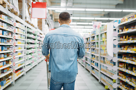 man, with, cart, in, supermarket, , back - 28063187
