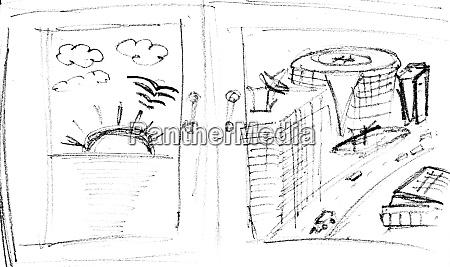 pencil, sketch, of, seascape, and, cityscape - 28063294