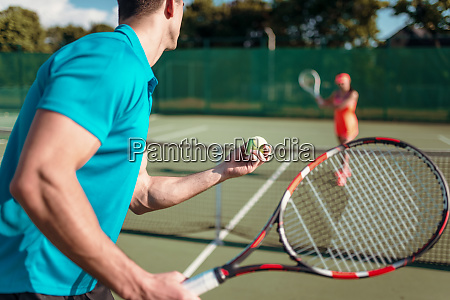 players, with, rackets, on, outdoor, tennis - 28063341