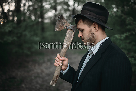serial, murderer, with, an, axe, , bloody - 28063243