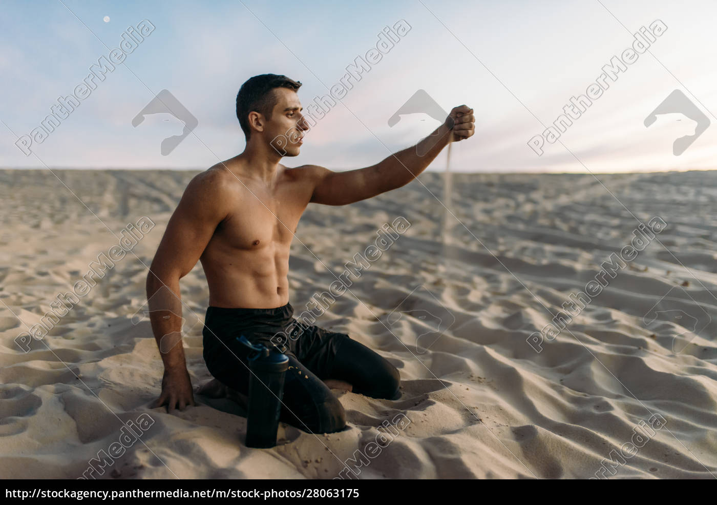 sportsman, after, workout, in, desert, at - 28063175