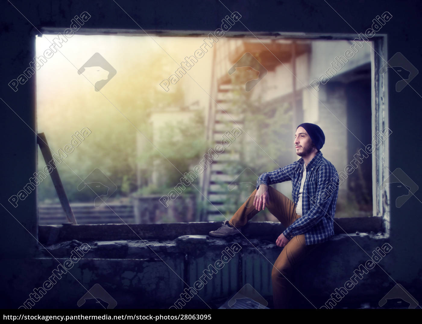 stalker, sitting, on, the, window, , abandoned - 28063095