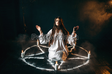 witch, in, pentagram, circle, , evocation, of - 28063182