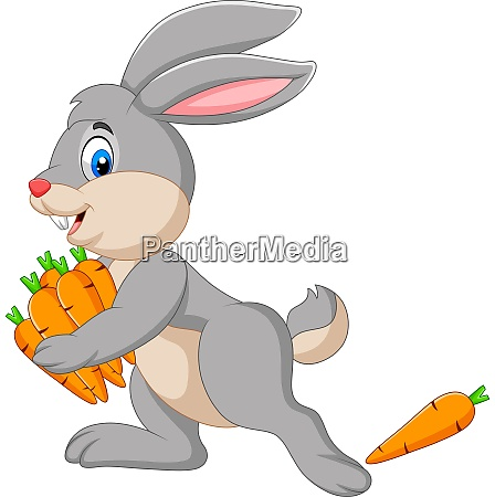 cartoon rabbit carrying carrots