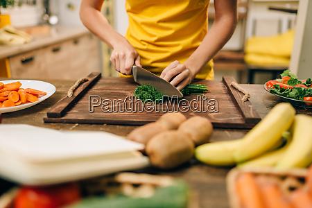 housewife cooking organic food preparation