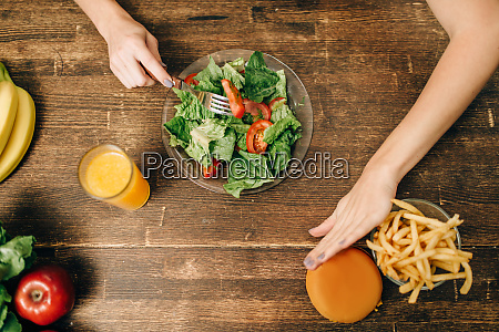 female person choose healthy organic food