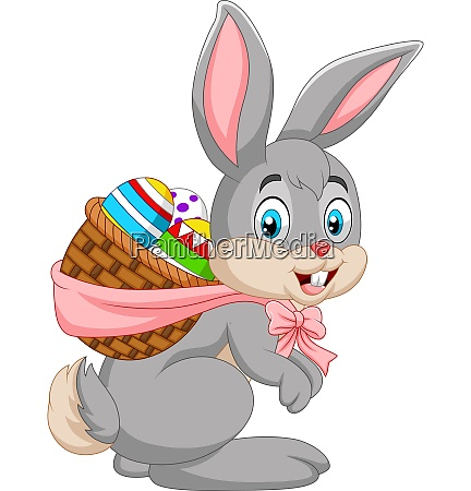 easter bunny carrying basket of easter