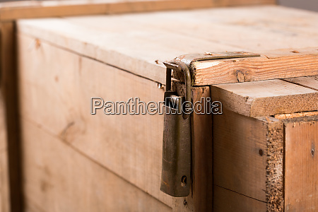 latch on old wooden chest