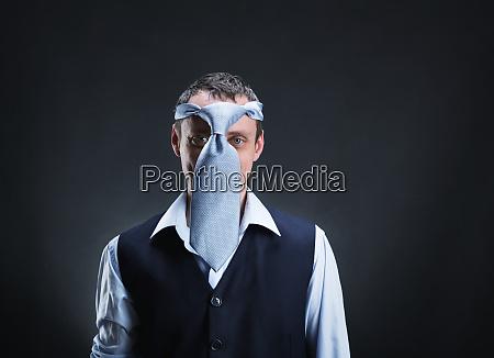 strange man with necktie on his