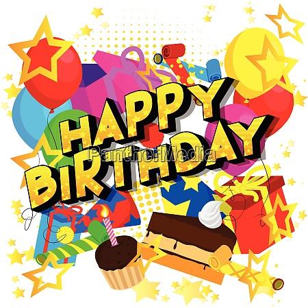 happy birthday vector illustrated comic