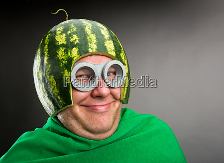 funny man with watermelon helmet and