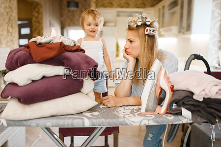 housewife with little kid at the