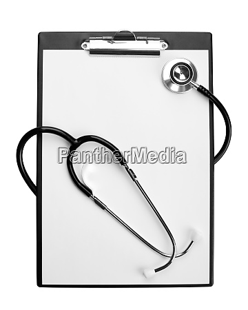 medical stethoscope on clipboard