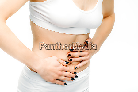 abdominal pain female person with stomach