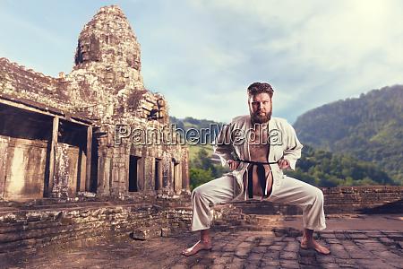 karate fighter in karate stance