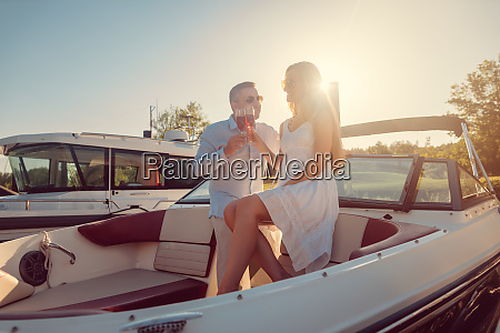 couple in a river boat or