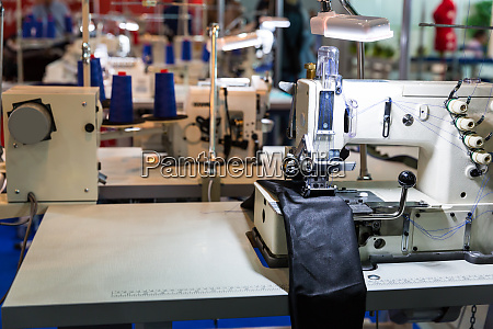 sewing machine on leather cloth factory