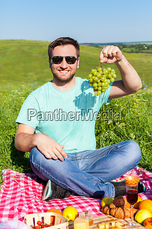 man having picnic