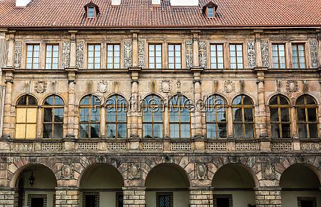 ancient stone castle facade europe