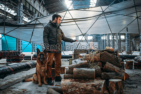 stalker with his domestic animal against