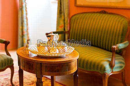 set of ancient tableware in museum