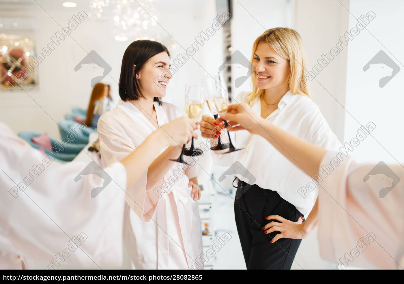 group, of, girlfriends, clink, glasses, in - 28082865
