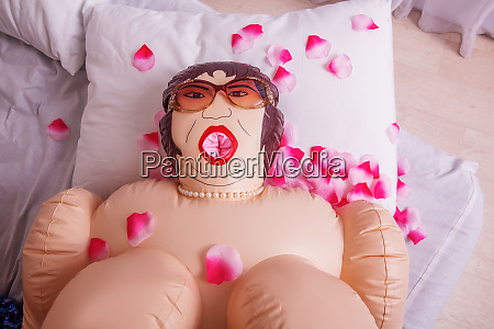 inflatable, sex, doll, strewed, with, petals - 28082860