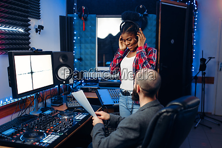 sound, operator, and, female, singer, , recording - 28082216