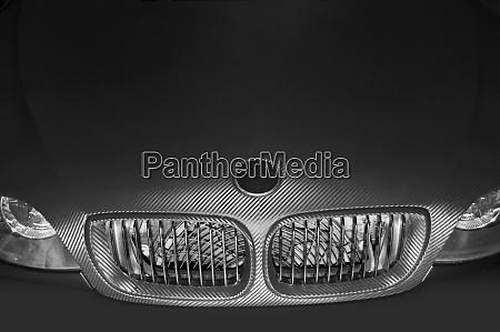 futuristic car hood and headlights