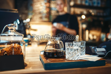 glasses with black coffee and filtered