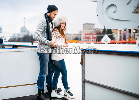 love couple prepares to skate on
