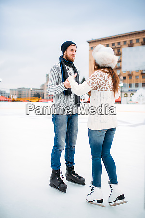 love couple learn to skate on