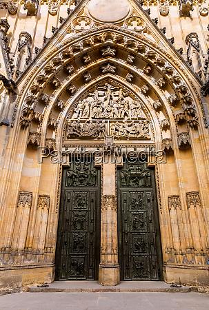 cathedral church entrance prague europe