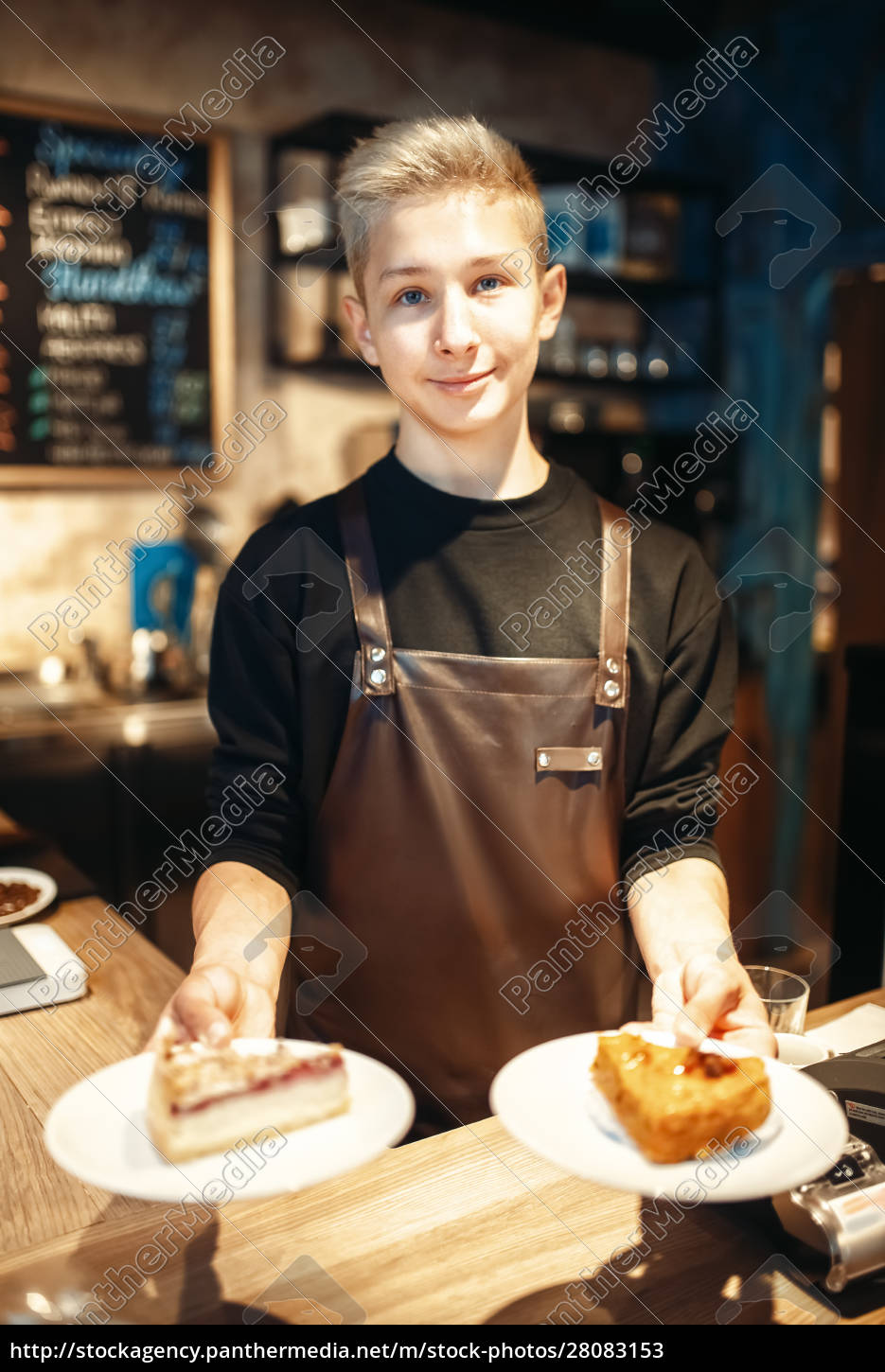 barista, holding, in, hands, plates, with - 28083153