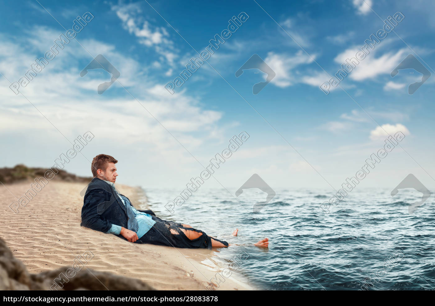 businessman, resting, on, the, beach, , lost - 28083878