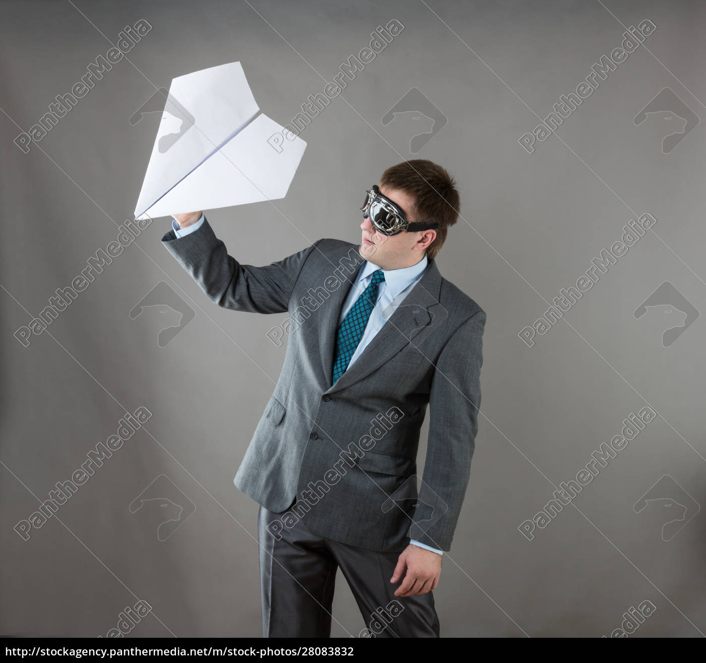 businessman, with, paper, plane, and, goggles - 28083832