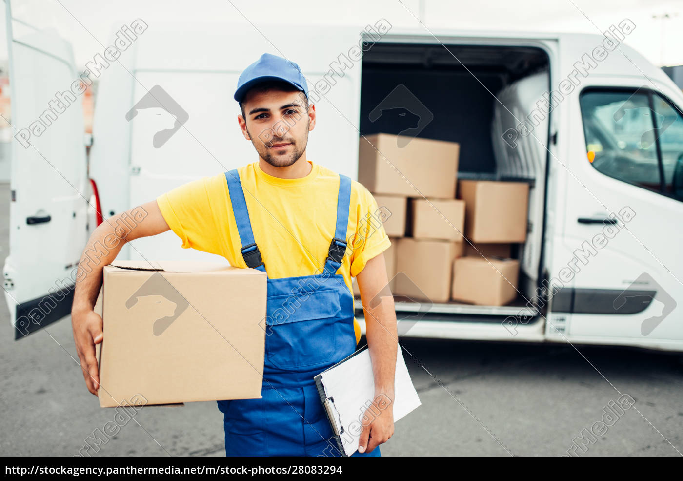 cargo, delivery, , male, courier, with, box - 28083294