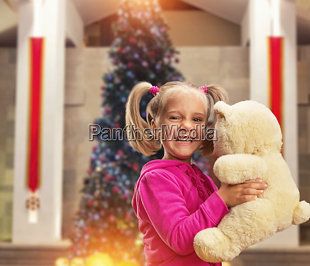 cute, small, girl, , with, toy - 28083700