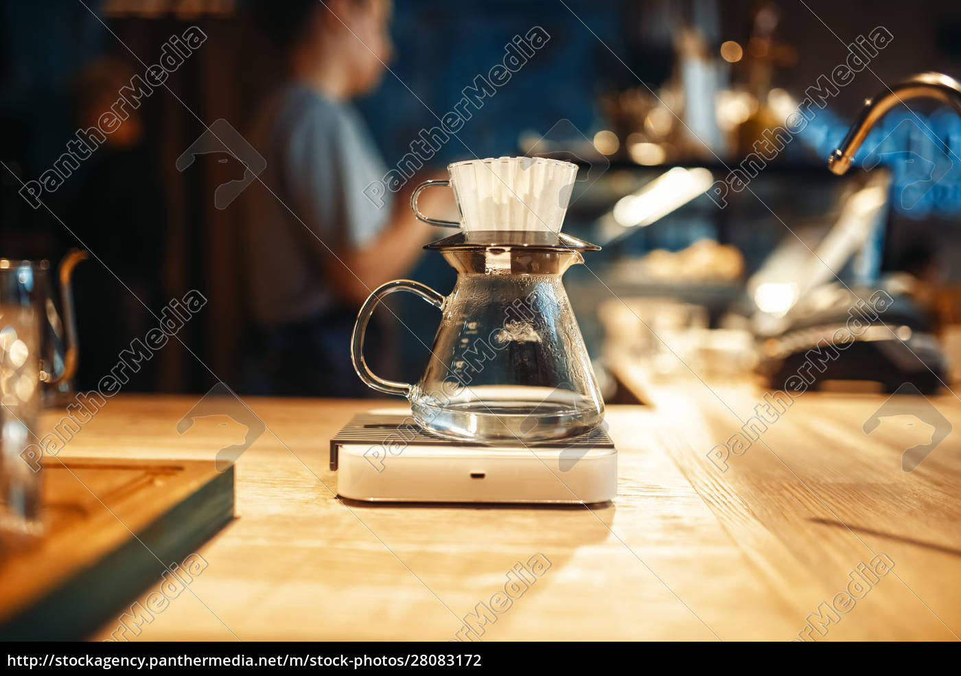 glass, coffee, pot, stands, on, stove - 28083172
