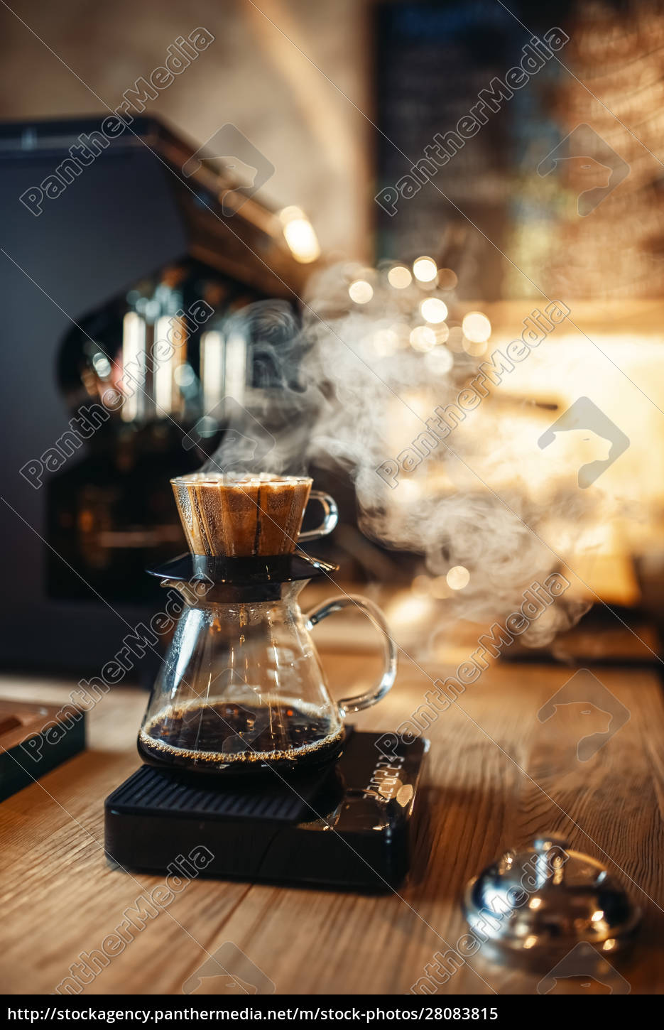 glass, coffee, pot, with, steam, on - 28083815