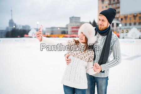 happy, love, couple, makes, selfie, on - 28083860