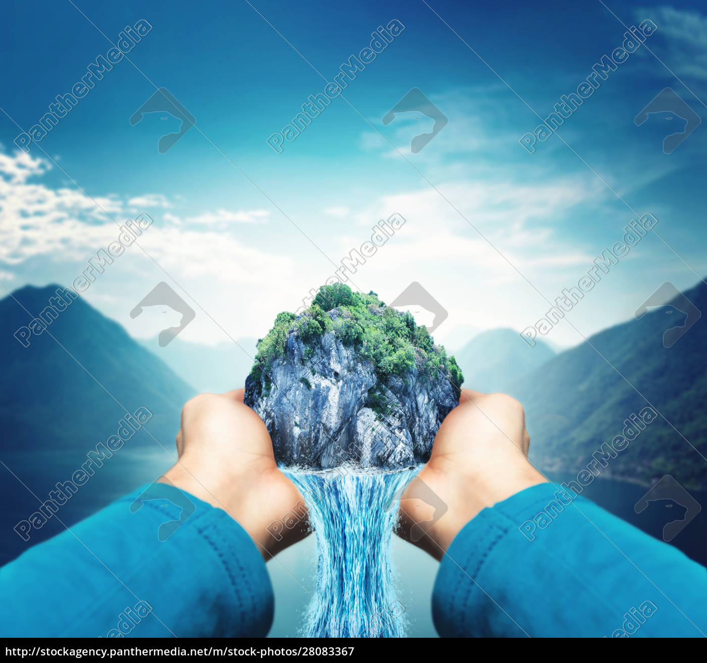 male, hands, with, waterfall - 28083367