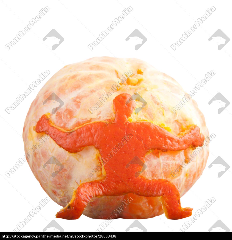man, holding, mandarin - 28083438