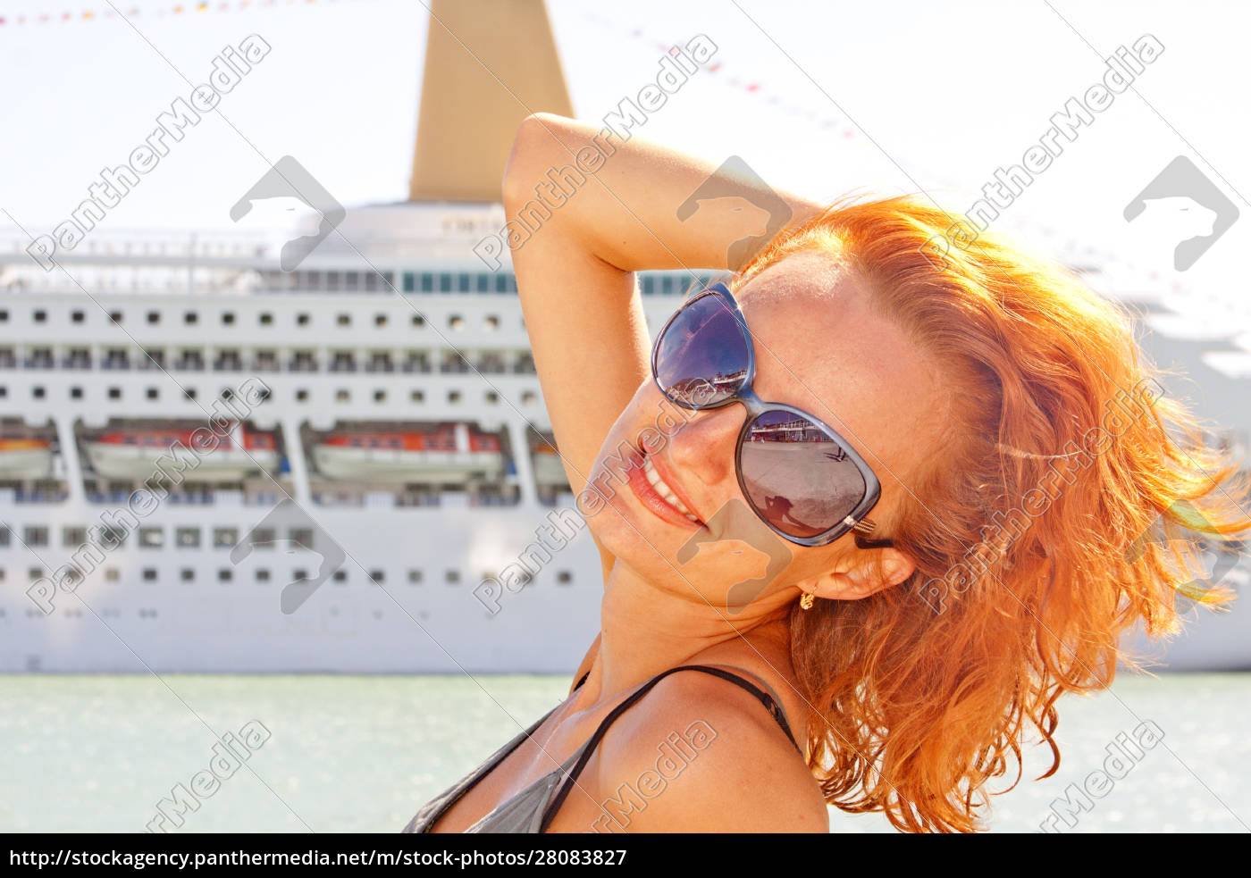 smiling, woman, and, cruise, ship, on - 28083827